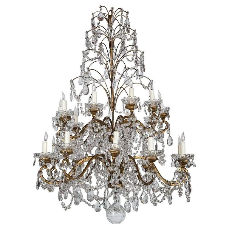 Italian Gilt Metal and Crystal Twenty-Light, Two-Tier Chandelier