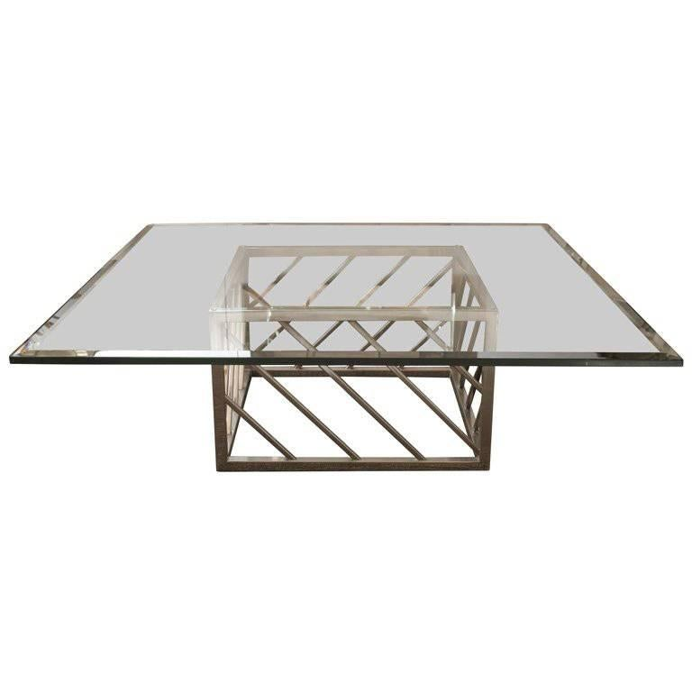 Large Chrome and Glass Coffee Table