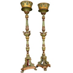 Monumental Pair of Italian 18th Century torchère in Painted and Giltwood