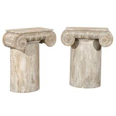 Pair of Painted Wood American Ionic Capital Console Tables
