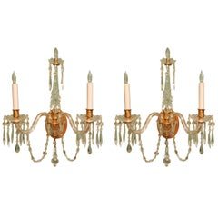 Pair of Crystal Two-Light Wall Sconces with Crystal Drops, Waterford Type, 1920s