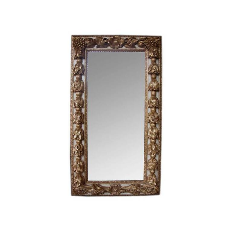 Large scaled and deeply carved continental baroque style for Rectangular baroque mirror