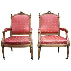 Pair of Gilt Napoleon III Fauteuils