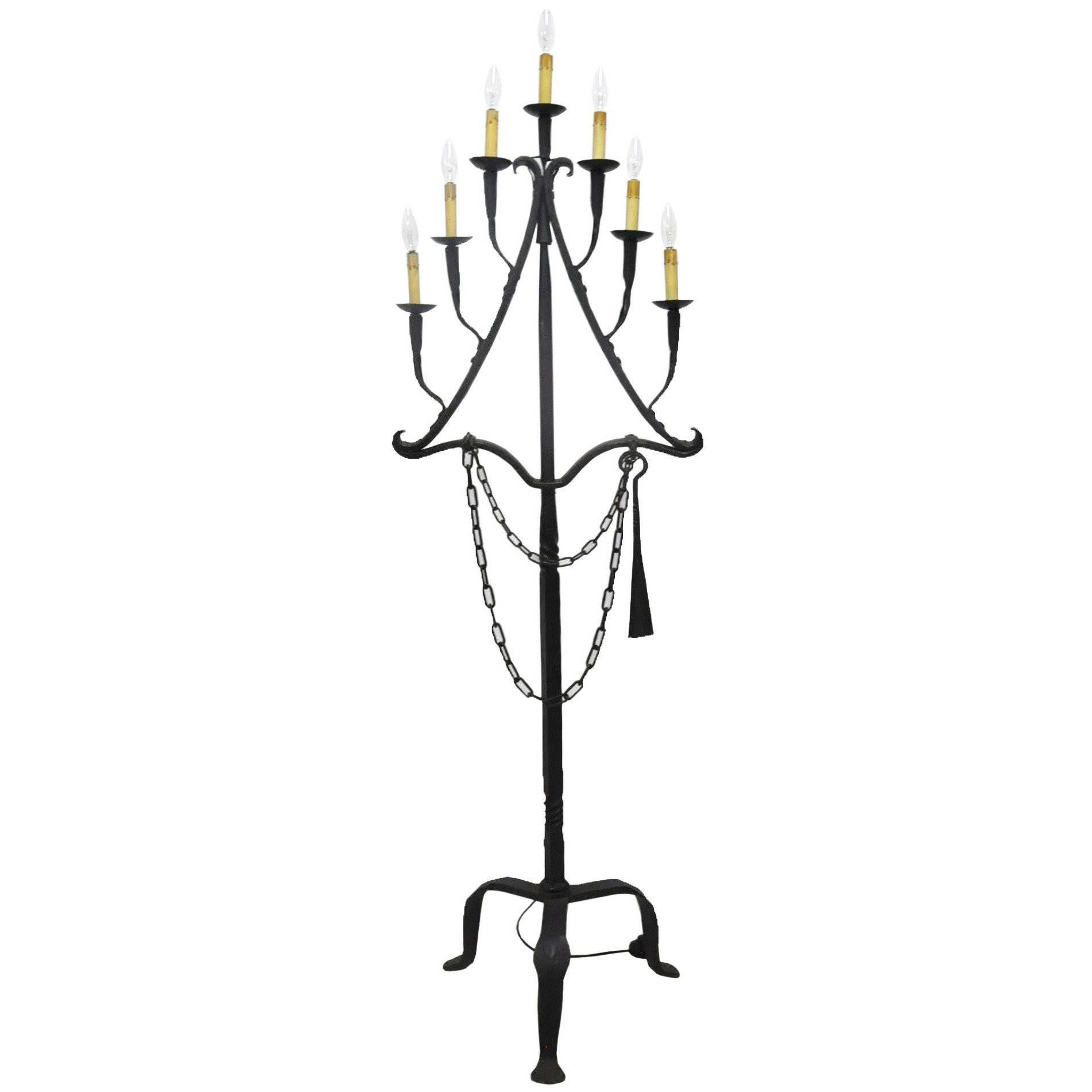 18th Century French Wrought Iron Seven-Light Floor Lamp from the ...