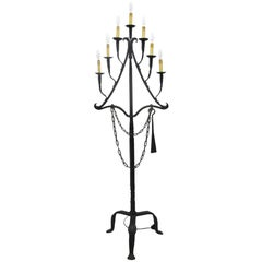18th Century French Seven-Light Wrought Iron Church Floor Lamp from the Pyrenees