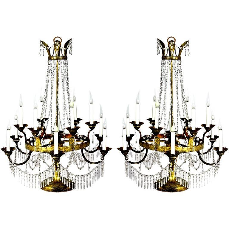 Pair of Italian Crystal, Iron and Giltwood Table Chandeliers, circa 1780 For Sale