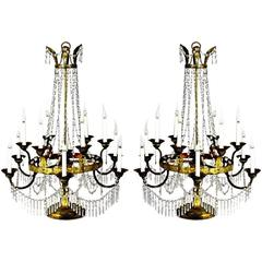 Pair of Italian Crystal, Iron and Giltwood Table Chandeliers, circa 1780