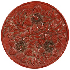 Japanese Kamakura-bori Red Lacquerware Floral Plate
