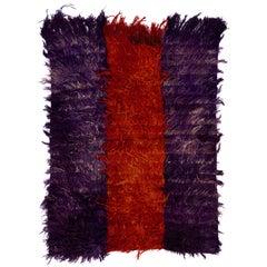 "Vintage Turkish Angora ""Mohair"" Wool Tulu Rug - Purple and Red Colors"
