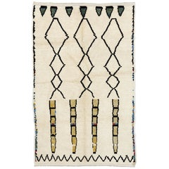 Contemporary Moroccan Wool Rug, 100% Wool, Custom Options Available