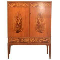 Swedish, 1930s-1940s Marquetry Cabinet Inlaid with Bird, Floral and Ocean Motifs