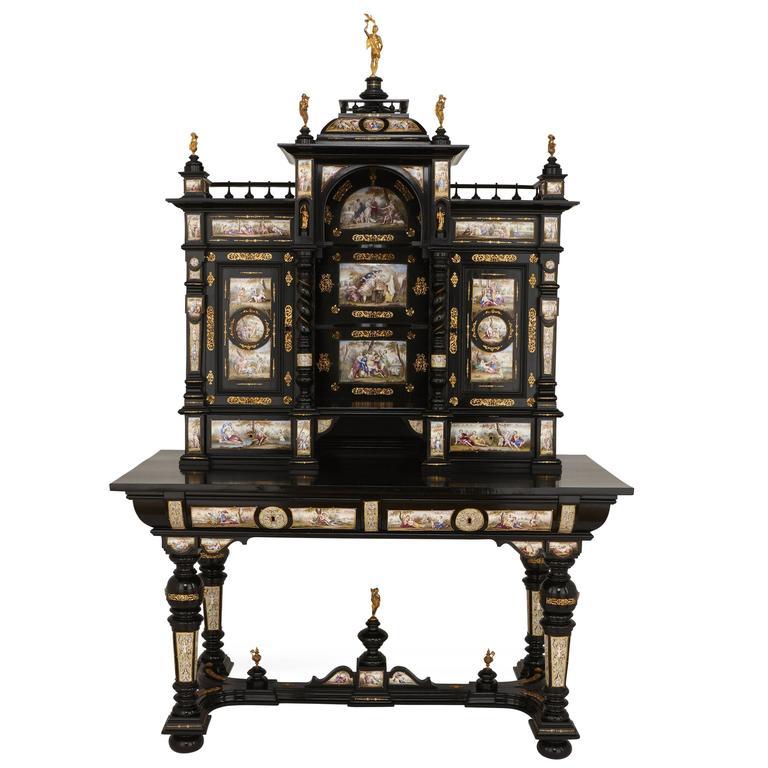 Ebonized Wood Furniture ~ Large ormolu mounted ebonized wood and viennese enamel
