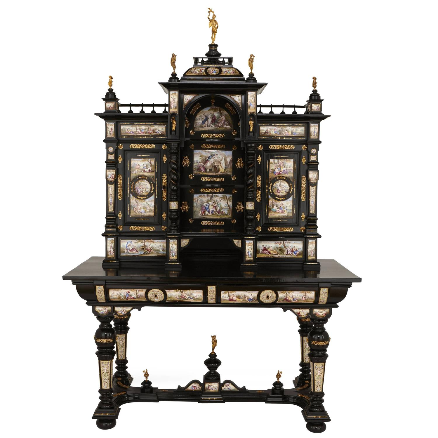 Large ormolu mounted ebonized wood and viennese enamel