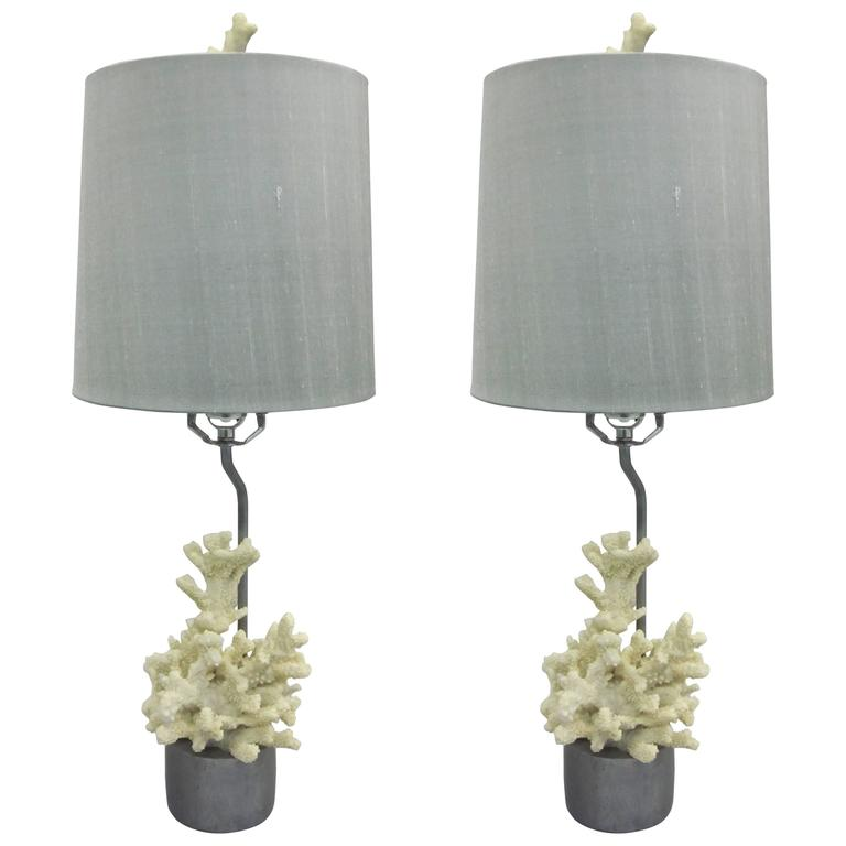 Pair French Mid Century Modern Style Faux Coral Table Lamps, Jean Michel  Frank