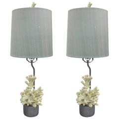 Pair French Mid-Century Modern Style Faux Coral Table Lamps, Jean Michel Frank