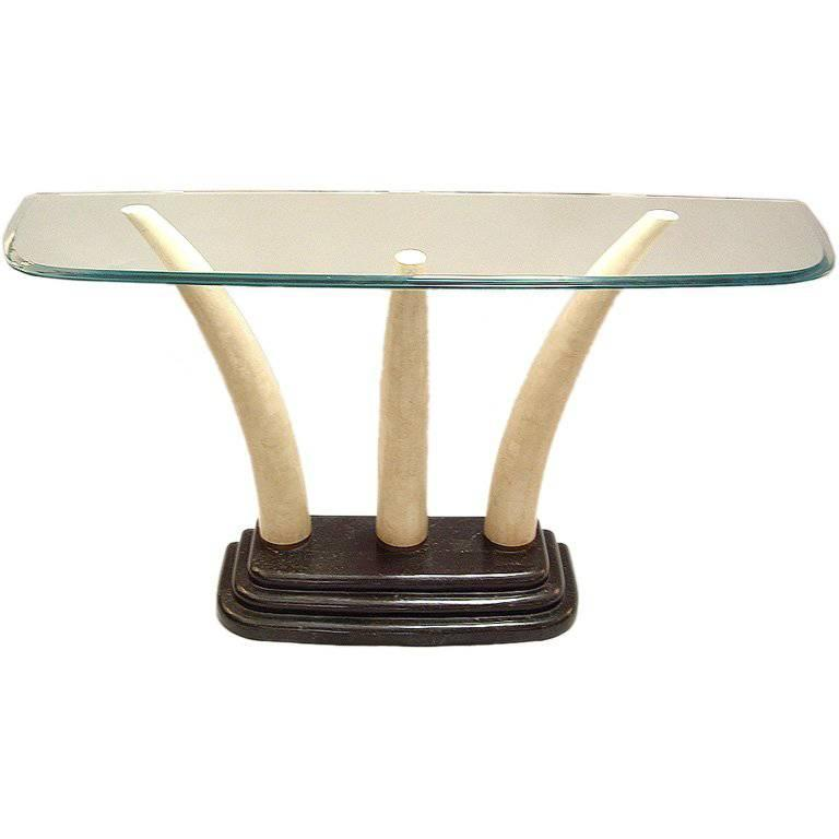 Console Table by Maitland Smith Stone and Glass  For Sale
