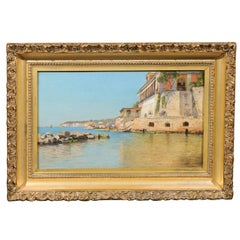 19th Century Continental Coastal Scene Oil Painting on Wood in Giltwood Frame