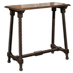 French Wooden Side / Console Table with Bobbin Legs, Turn of the Century