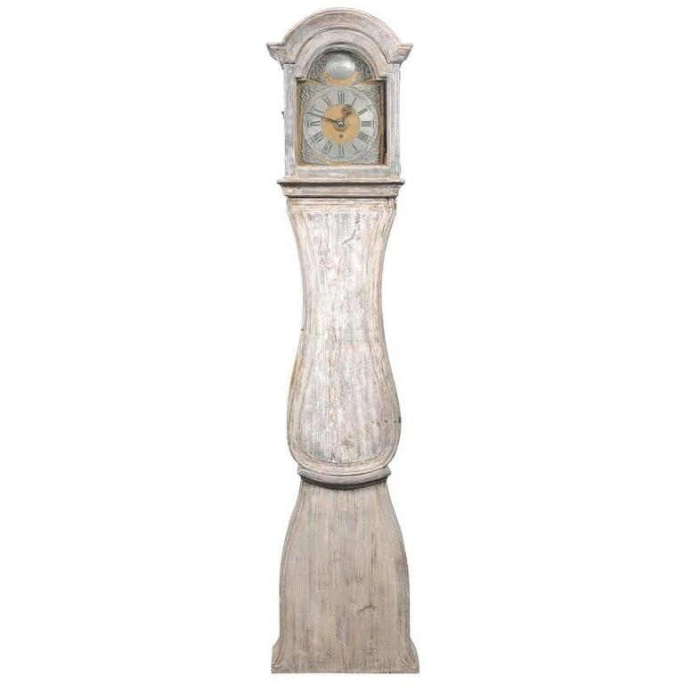 Painted Swedish Tall Case Clock with Brass and Steel Face, 19th Century For Sale