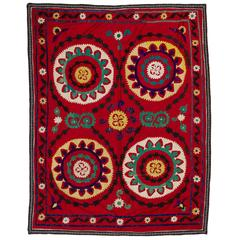 Vintage Central Asian Embroidered Wall Hanging or Bed Cover