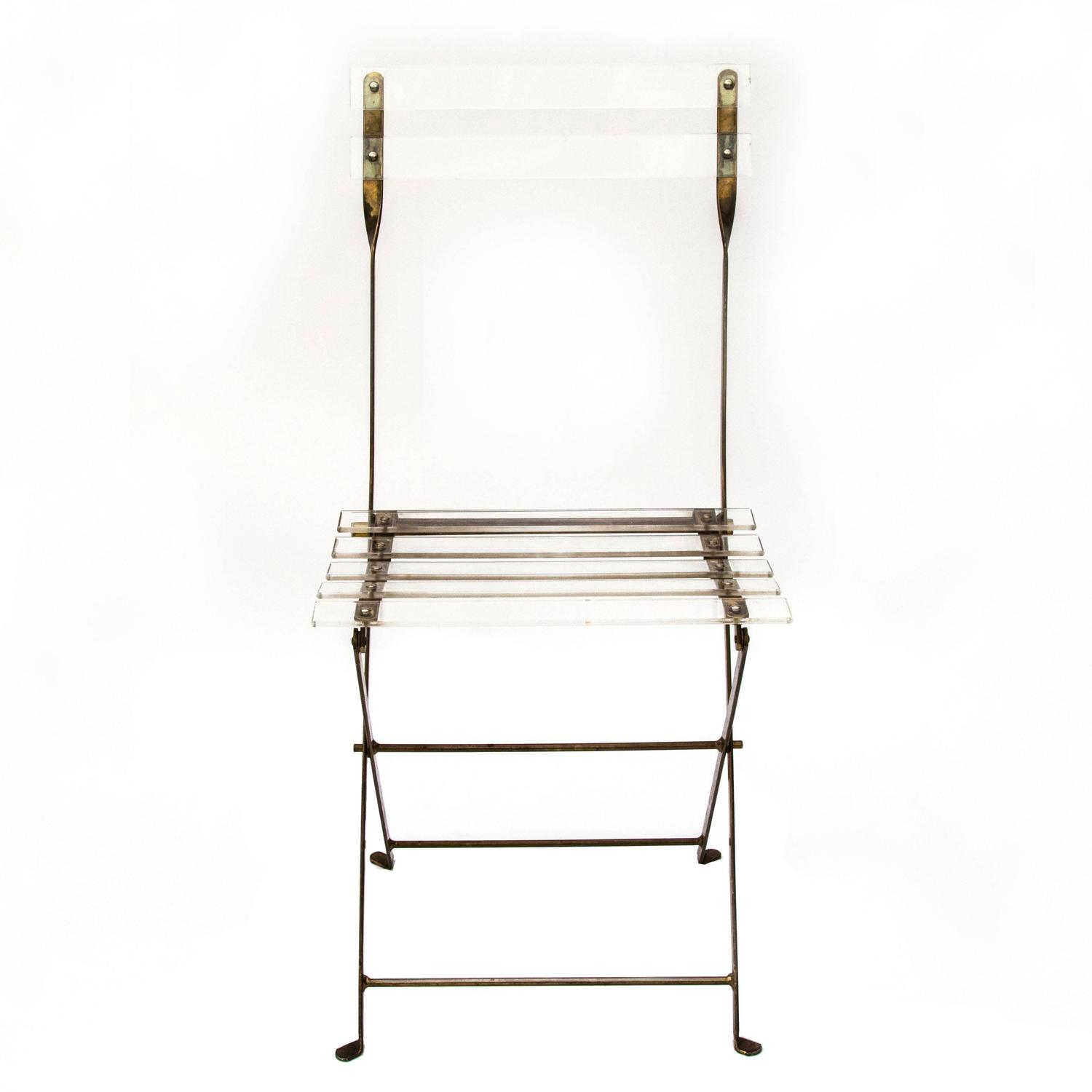 Lucite and Brass Folding Chairs at 1stdibs