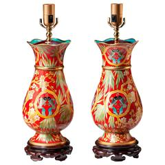 Pair of Ovid Red Ground Crackleware Lamps