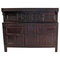 17th Century English Oak Court Cupboard, circa 1680