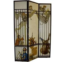 French Hand-Painted Signed Screen Background with Monkeys in a Band