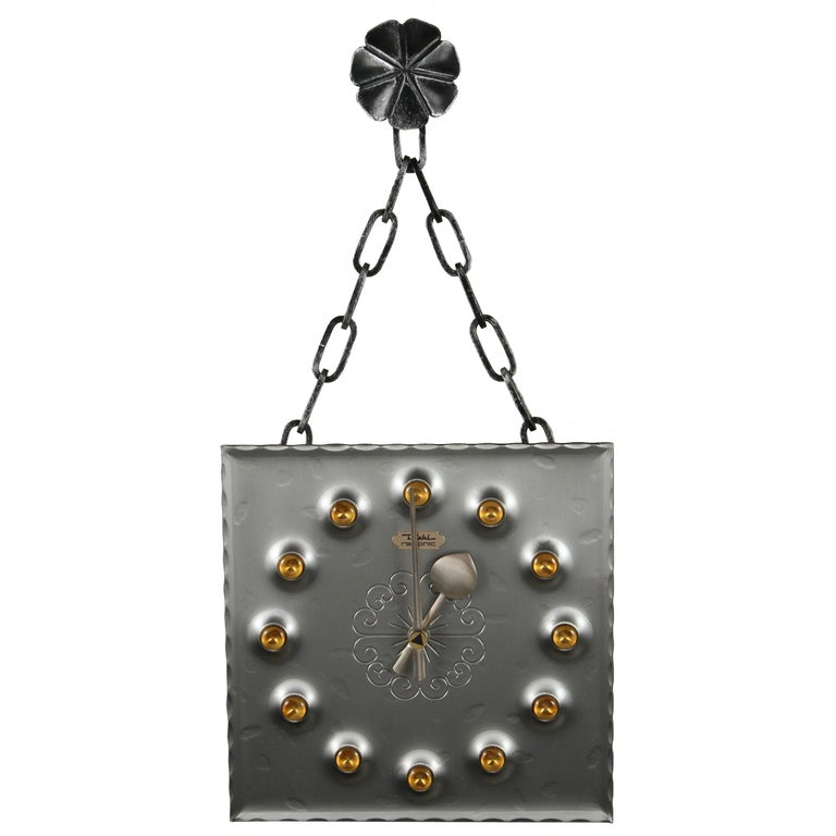 Midcentury Brutalist Mod Wall Clock For Sale