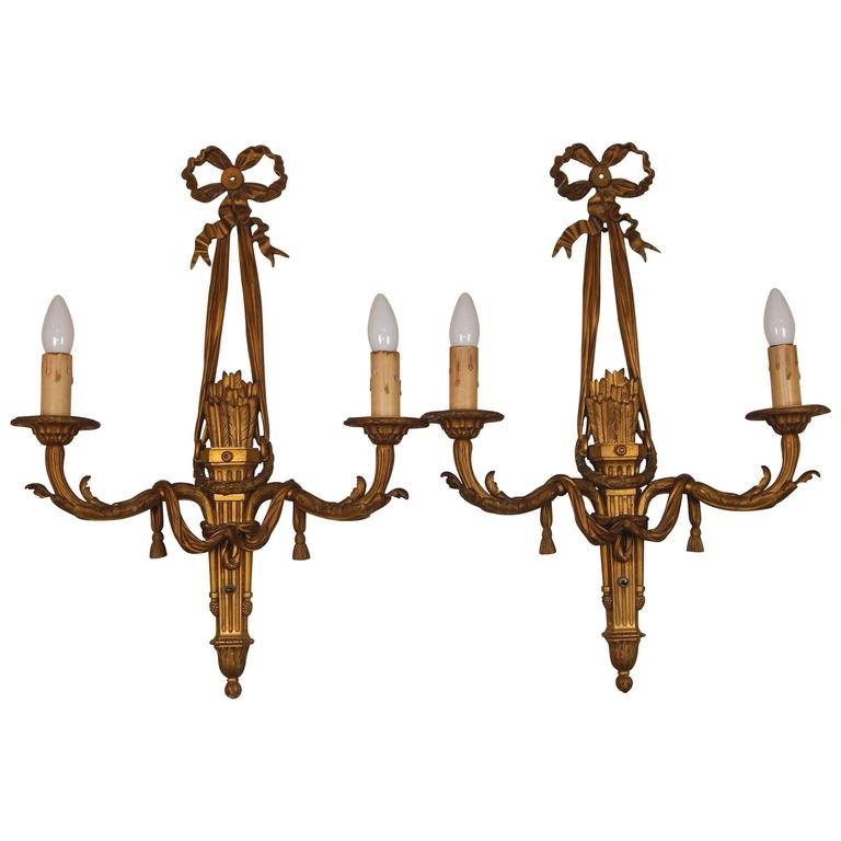 pair of louis xvi style bronze two arm sconces for sale at 1stdibs. Black Bedroom Furniture Sets. Home Design Ideas