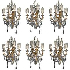 Set of Six Antique Louis XVI Style Gilt Bronze and Cut Crystal Wall Sconces