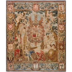 Antique Flemish Heraldic Tapestry of a Spanish Nobel Admiral