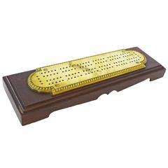 American Brass and Mahogany Cribbage Board, circa 1880