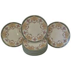 Elaborate Set of 12 Tiffany and Co Hand Enameled English Service Plates