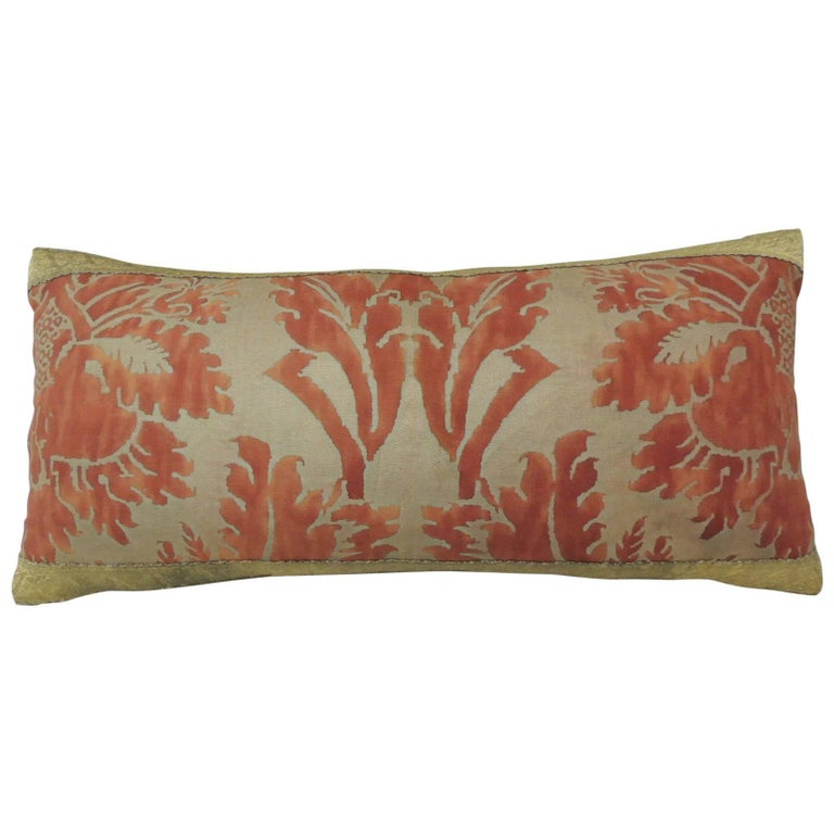 Large Decorative Bolster Pillows : Fortuny Red Glicine Decorative Bolster Pillow For Sale at 1stdibs