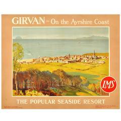 Original 1920s LMS Railway Poster for Girvan Seaside Resort, Ayrshire, Scotland