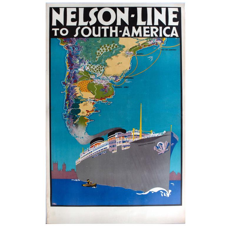 Original 1930s Travel Poster Advertising Nelson Line Cruises to South America