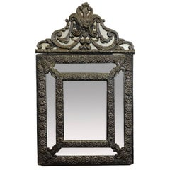"""19th Century, French Embossed Brass and Beveled Glass """"Parecloses"""" Mirror"""