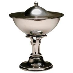 Evald Nielsen Sterling Silver Art Deco Footed Covered Compote