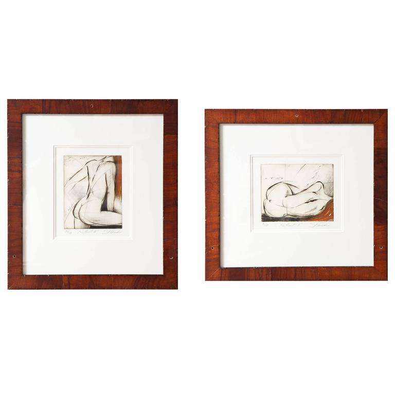 Pair of Female Nude Etchings by Sergei Firer