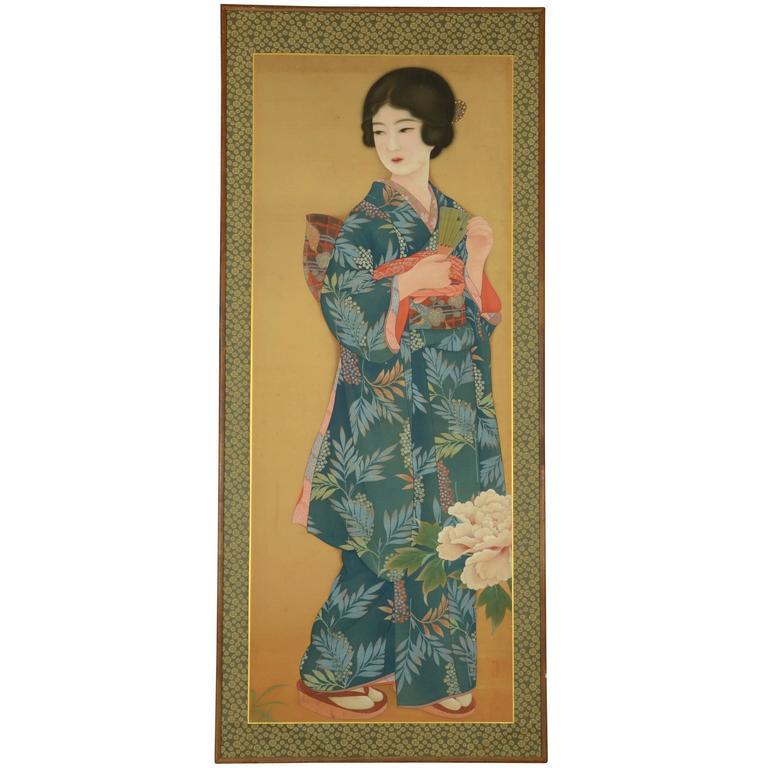 Japanese Bijin-ga Painting of Woman in Period Kimono, Taisho Period, circa 1920