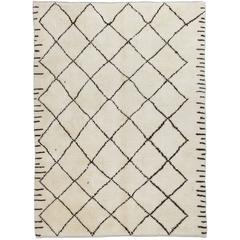 Moroccan Rug Made of Natural Ivory and Brown Wool