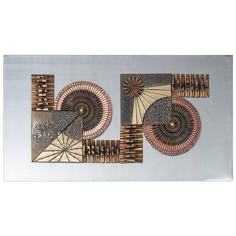 Aluminium and Brass Brutalist Metal Wall Panel Sculpture, 1970s