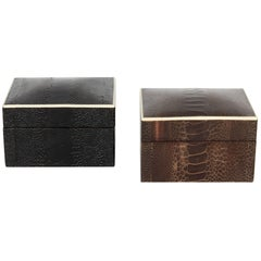 Exotic Ostrich Leather Decorative Boxes with Bone Inlay