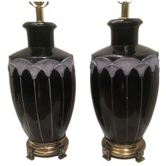 Pair of Blue Porcelain Lamps