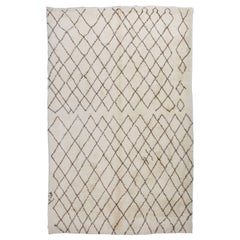 Moroccan Rug Made of Natural Cream and Light Brown Wool