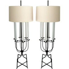 Pair of Six-Light Floor Lamps by Tommi Parzinger
