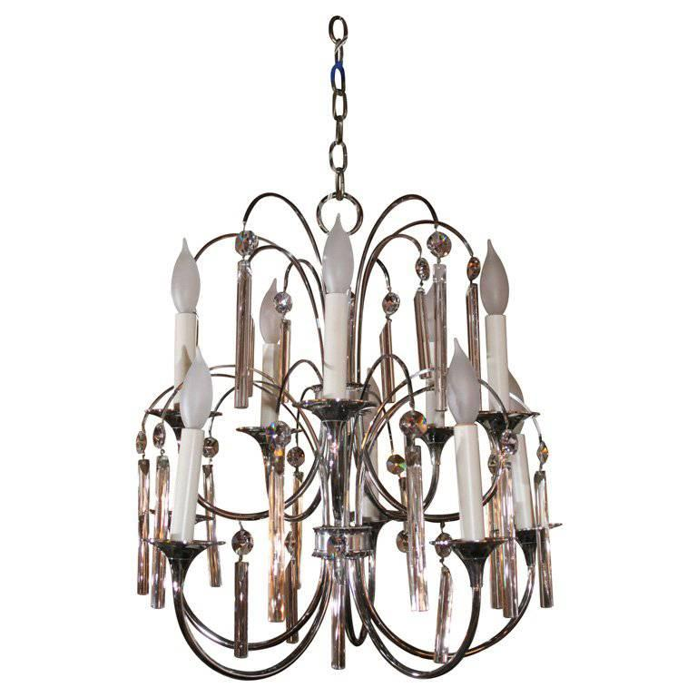 Midcentury Chrome and Crystal Chandelier For Sale