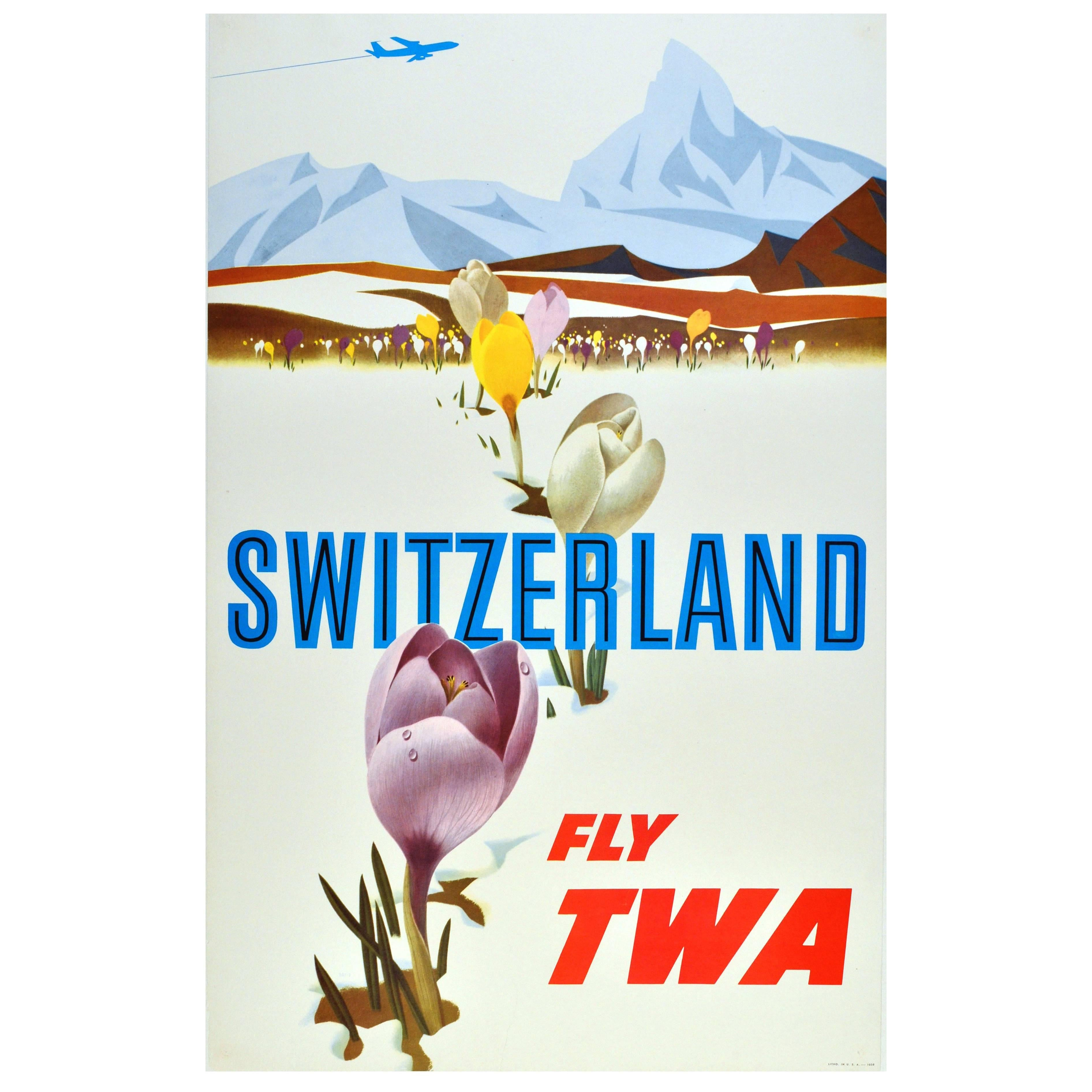 Original Vintage Travel Advertising Poster by David Klein, Switzerland Fly TWA