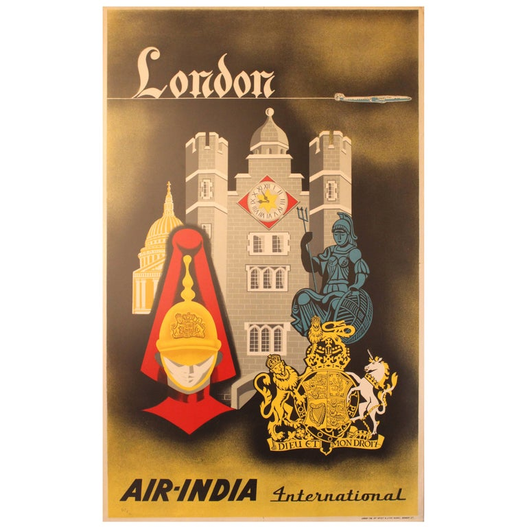 Original Vintage Travel Advertising Poster for London by Air India International For Sale